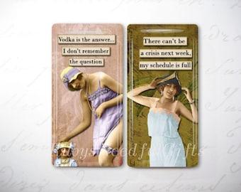 Glass Tile Magnets,  Fridge Magnets, Vintage Divas, Funny Diva Magnets, Best friends gift, Hostess Gift, SET OF 2.