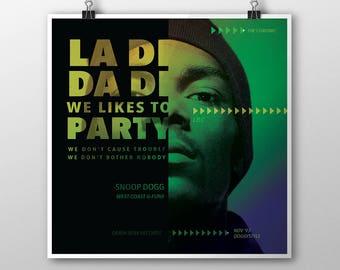 Snoop Dogg Poster, Snoop Dogg Print, Snoop Dogg Art, Art, Hip Hop, 8x8