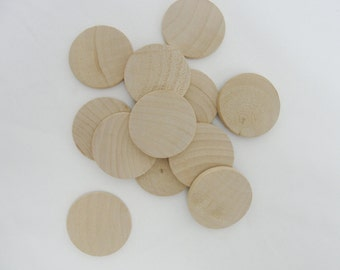 "12 Wood Circles, wood disc, wooden disk 1 3/4"" (1.75"") wood 3/16"" thick unfinished DIY"