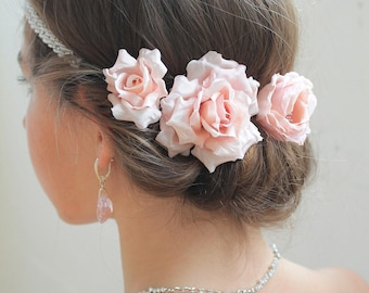 Rose hair ornaments set of three flowers vintage hair pins or Bobby pin, wedding hairstyle, Bridal jewelry, Bridal, dusty pink, rose bourbon