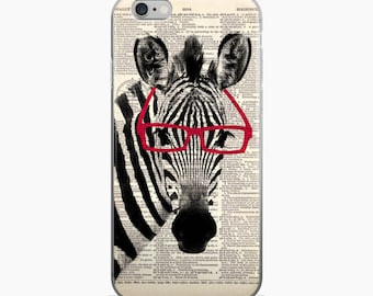 Zebra with Glasses Phone Case, Black White Animal iPhone 7 8 X, 7 Plus Case, Dictionary Art Print Gifts, iPhone 6s 6 plus Cover