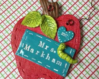 Personalized teacher ornament, Teacher Gift, teacher ornament, Apple ornament, Name Ornament, Clay Ornament, 3 inch clay apple for teacher