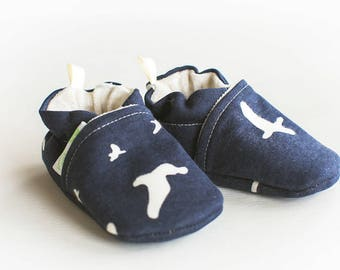 Organic Knits Vegan Flight in Dusk / All Fabric Soft Sole Baby Shoes / Made to Order / Babies