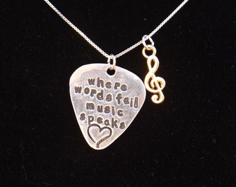 Where words fail music speaks necklace, Music Therapy necklace, Music teacher gift, Music Lover gift, Quote jewelry, Inspiration charm