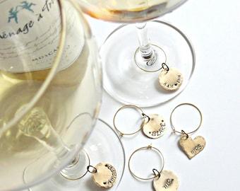 Custom Wedding Wine Charms - Personalized Wine Charms - Brass Personalized Wine Charms - Hand Stamped Wine Charms