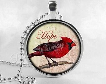 CARDINAL Necklace, Cardinal Bird Necklace, Cardinal Jewelry, Red Bird, Hope, Inspirational Word Necklace, Glass Photo Art Necklace, Red Bird