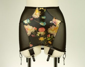 Black/Floral Sheer ROSIE Pull On Open Bottom Girdle OBG Size S-XXL