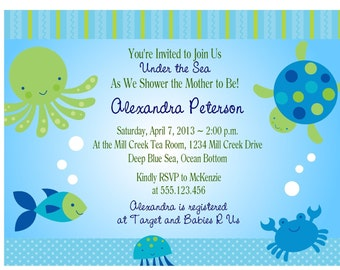 UNDER THE SEA Baby Shower Invitation/Printable Digital File/Ocean Fish Birthday Invitation
