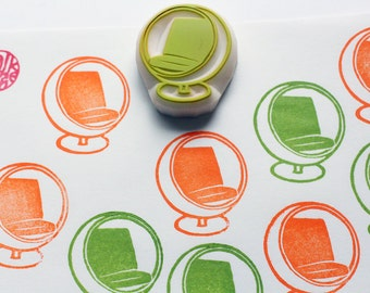 ball chair rubber stamp | vintage furniture stamp | home decor | mid century | diy birthday card making | hand carved by talktothesun