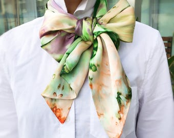 Handmade Handdyed Fashion Silk Scarf Abstract Prints One of a kind Customized Limitedition
