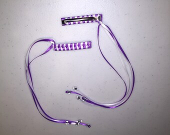Braided ribbon barrette, hair clip, weaved barrettes, set of 2, satin ribbon braided barrettes