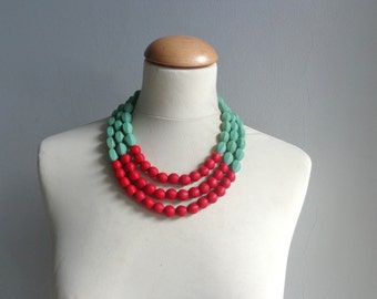 Red Green chunky necklace modern tribal statement necklace