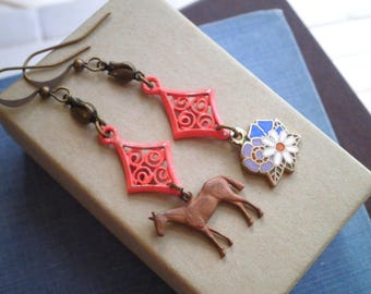 Horse & Flowers Dangle Earrings - Vintage Filigree + Floral Cloisonne + Brass Equestrian Charm Mismatched Retro Dangles, Animal Jewelry Gift