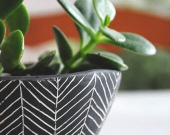 Made To Order // Herringbone Ceramic Table Planter // Succulent Planter // Cactus Planter // Desk Planter // Ceramic Planter