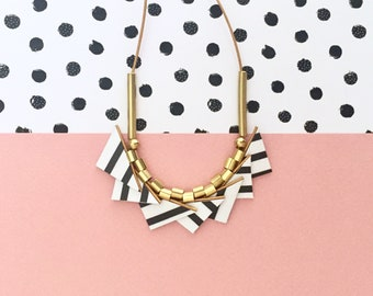 Leather Necklace Minimalist Necklace Striped Necklace Black and White Necklace Geometric Necklace Small Triangles Leather & Brass Necklace