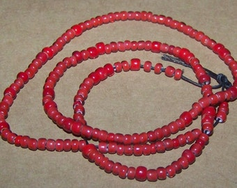 Antique Vintage Venetian Seed Bead White Heart Red
