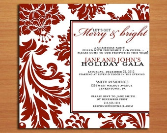 Merry and Bright / Customized Printable Christmas Party Invitations /  DIY