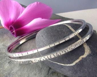 Sterling Silver Bangle Bracelets Set of 2  - silver Bangles set - Textured Sterling Bangle set - size Large Medium or Samll