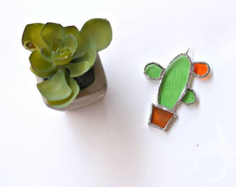Cactus pendant in green Tiffany stained glass with sterling silver for succulents lovers and fruit flower orange handmande in Italy