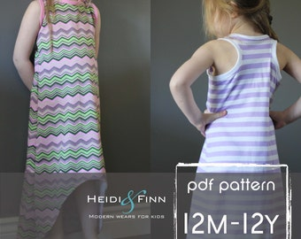 Sporty Maxi Dress pattern and tutorial PDF 12m-12y easy sew long tank dress tunic racerback