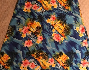 Vintage Hawaiian Dress. Caribbean Beach Dress. Hawaiian Style Caribbean Dress. Blue Hawaiian Dress. Vintage Summer Dress. Size Large