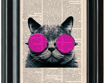 Cool Cat dictionary art print book page antique vintage dictionary print wall Funny Cats Animals