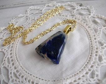 SALE Lapis Blue Sodalite Pendant Gold Necklace