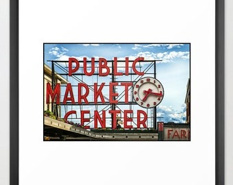 Pike Place Market, Sign, Icon, Seattle, Sign, Vintage, Antique, Print, Fine Art Photography, Steampunk (6 Sizes) Canvas, Framed
