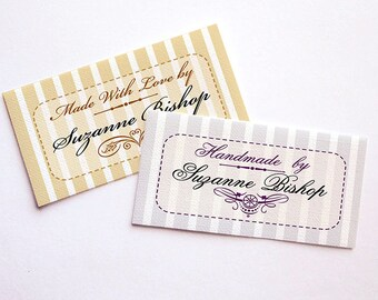 """Victorian Inspired """"Shirtwaist"""" Styles • Sew-on or Iron-on • 80 Labels  2 x 1"""" Uncut • Your Name Added • Colorfast 100% Preshrunk Cotton"""