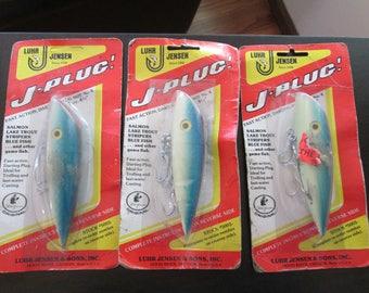 "Set of 3 NIP vintage Jensen Luhr #5003 J-Plug fishing lure Glo Blue 4 3/4"""