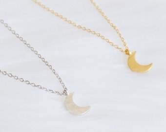 Mother's Day Gift, Tiny Moon Necklace, Gold or Silver
