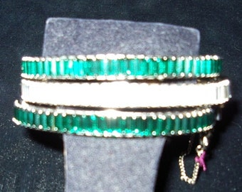 Trio of Emerald /Rhinestone Baguette Tennis Style Bangle Bracelets  Item#781  Jewelry