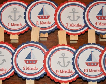 Nautical Photo Clips. Sailing. Photo Clips. First Birthday. Set of 13. Newborn-12 Months. Anchor. Sailboat