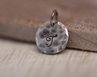 ONE Letter Charm, Personalized Necklace Charm, Personalized Jewelry, Hand Stamped Initial Charm, A la Carte Charm, Sterling Silver Charm