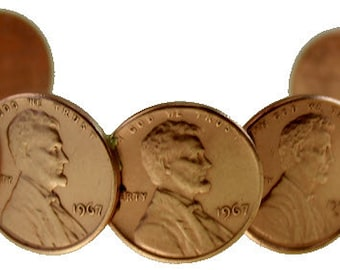 Copper Penny Bracelet - Cuff style - Made with real Copper Pennies