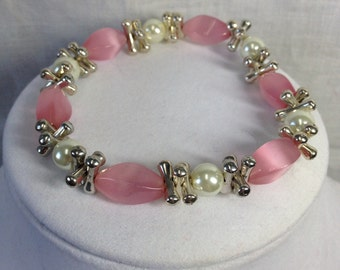 PRICE REDUCED!!  Bracelet - pink pearls