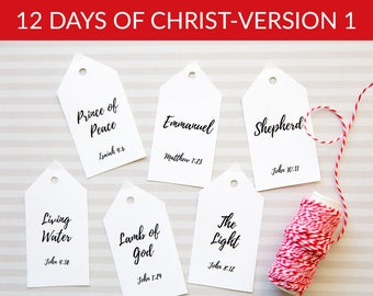 12 Days of CHRIST Tags - Version 1