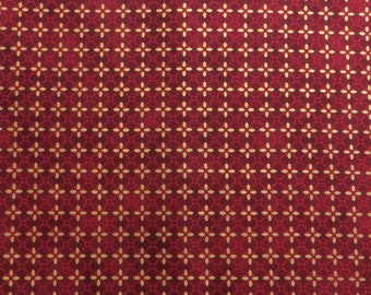 Japanese Cotton Fabric - Red and Gold Patterned