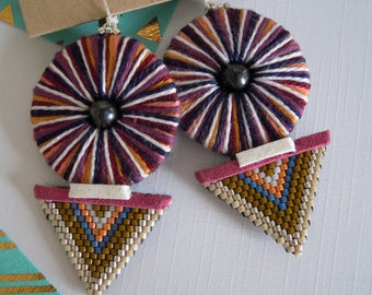 Beadwork earrings and son caneva ethnic style beads / folklore