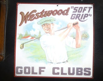 Westwood Soft Grip Golf Clubs - Vintage Litho Tin Sign - 1 sided - Square Form w/ raised lettering