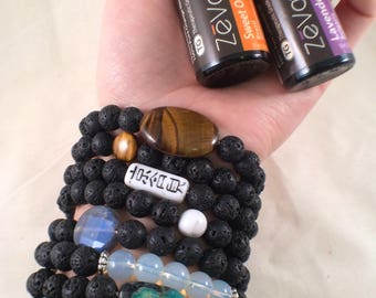 Black lava gemstone oil diffuser bracelets