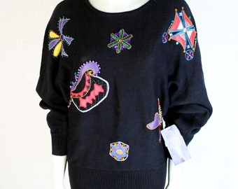 Cedars Black Red Multi-Color Embellished Sweater - New with Tags!