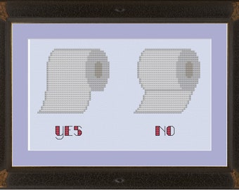 Toilet paper hanging protocol: funny cross-stitch pattern
