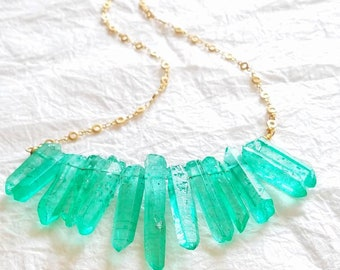 Dyed Aqua Teal Quartz Spike Stick Pendant & Matte Gold Plated Circle Chain Necklace, The Jade Vine Necklace