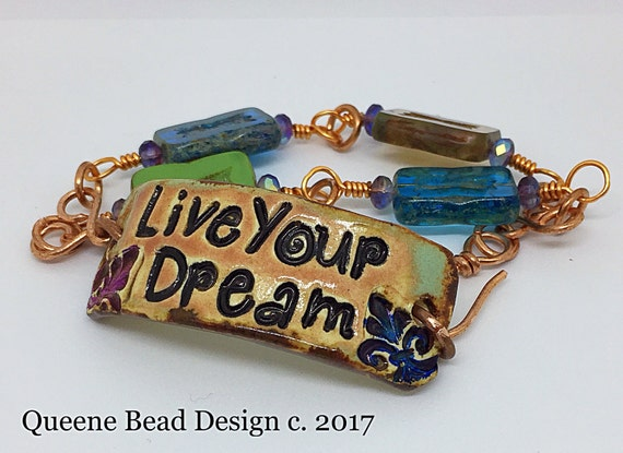 Live Your Dream Ceramic, Czech Glass and Copper Wire Bracelet #queenebead