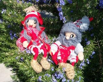 Vintage Handmade Swedish Tomte Dolls-Liam and Ragnhild