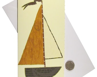 Sailing Boat Card, Yacht Card, Card for Man, Male Birthday Card, Father's Day, Bon Voyage or Retirement, Mixed Media Collage