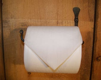 """Hand Forged """"Thumbprint"""" Toilet Tissue / Paper Holder made by Blacksmith"""