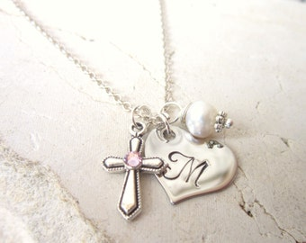 Baptism Gift. Children's Birthstone Cross Necklace. Girl's Heart Initial & Pearl Charm Necklace. First  Communion Gift. Birthstone Jewelry