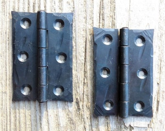 "2 Hand Forged 2.5"" Butt door Hinges Waxed Wrought Iron Cabinet Cupboard Box Trunk Blacksmith Country Home Antique Hardware Black Metal Decor"